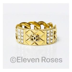 CHANEL Metallic Quilted CC Crystal Chain Link Ring
